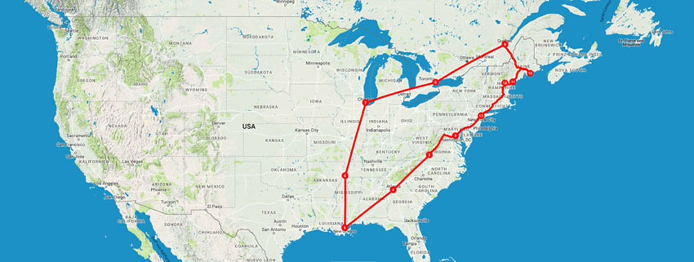 Unser Route unseres Roadtrips durch die USA