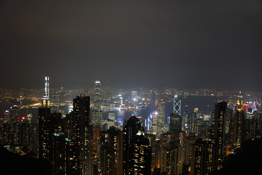 Hongkong, Blick vom Victoria bei NachtPeak