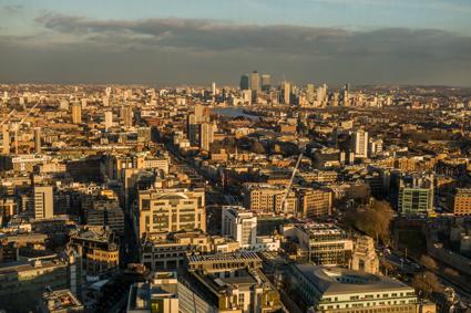 London, Skygarden, Blick Richtung Canary Wharf