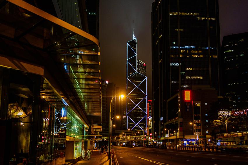 Hongkong - Nachtansicht mit Blick auf die Bank of China