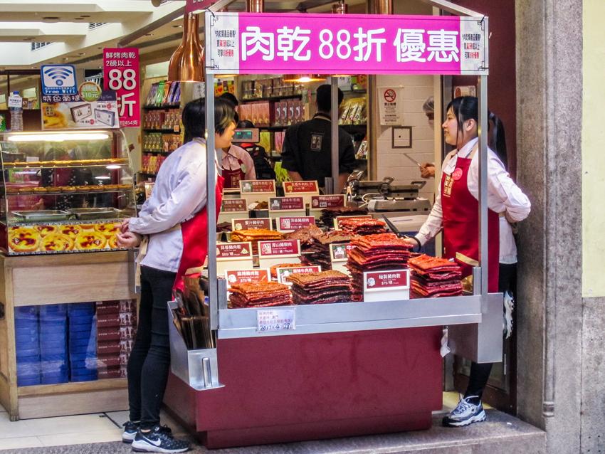 Macau - Essensstand mit Beef Jerky