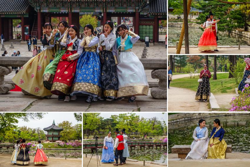 Paläste in Seoul - Besucher-in-Historischen-Gewändern