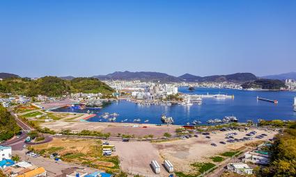Tongyeong Südkora, Blick auf den Hafen von Tongyeong